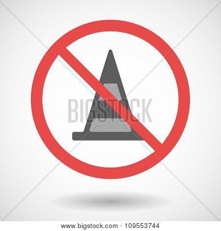 Forbidden Vector Signal With A Road Cone