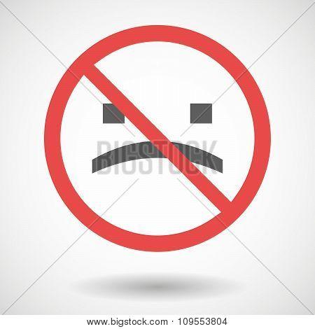 Forbidden Vector Signal With A Sad Text Face