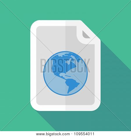 Long Shadow Document Vector Icon With An America Region World Globe