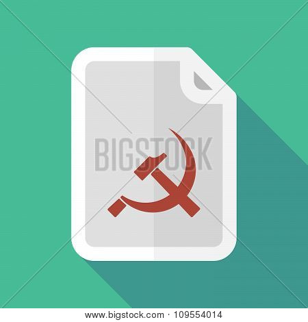 Long Shadow Document Vector Icon With  The Communist Symbol