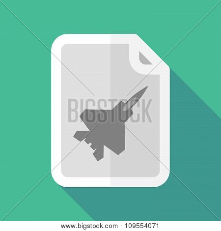 Long Shadow Document Vector Icon With A Combat Plane