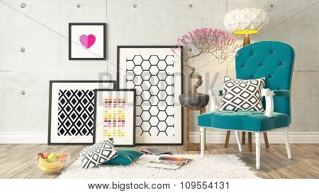 Blue Bergere And Concrete Wall, Background, Template Design 3D Rendering