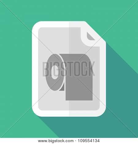 Long Shadow Document Vector Icon With A Toilet Paper Roll