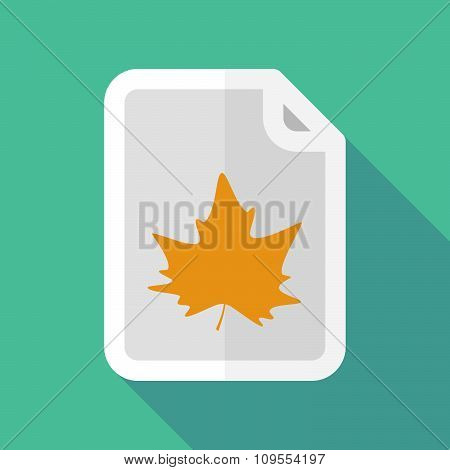 Long Shadow Document Vector Icon With An Autumn Leaf Tree