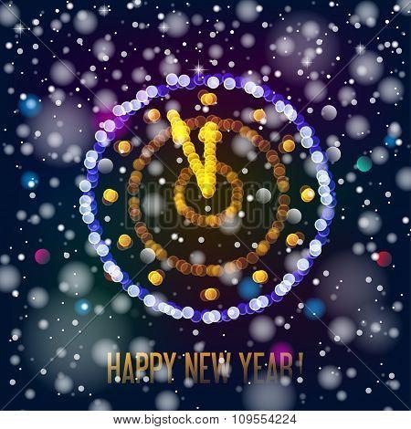 New Year clock in bokeh lights