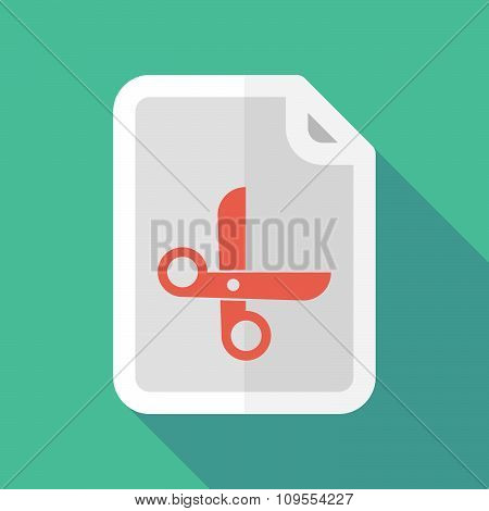 Long Shadow Document Vector Icon With A Scissors