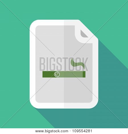 Long Shadow Document Vector Icon With An Electronic Cigarette