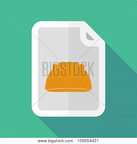 Long Shadow Document Vector Icon With A Work Helmet