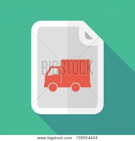 Long Shadow Document Vector Icon With A  Delivery Truck
