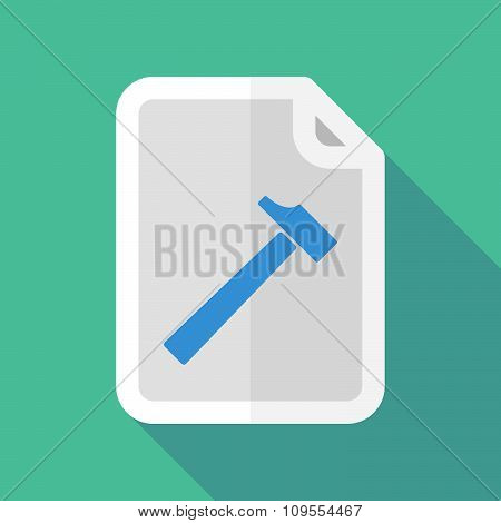 Long Shadow Document Vector Icon With A Hammer