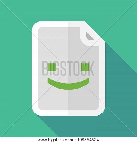 Long Shadow Document Vector Icon With A Smile Text Face