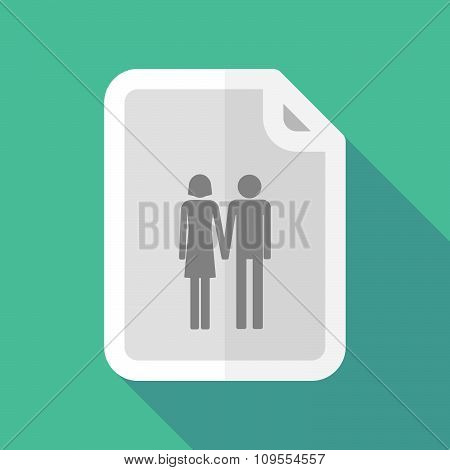Long Shadow Document Vector Icon With A Heterosexual Couple Pictogram