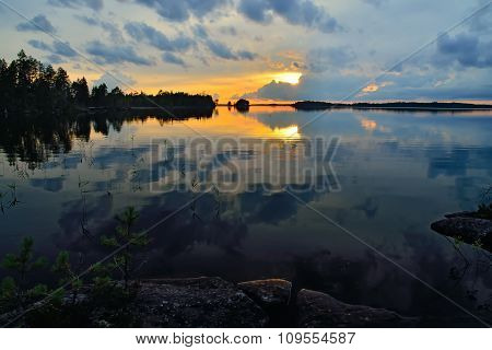 Romantic Sunset. Pongoma Lake, Karelia, Russia