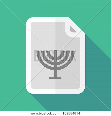 Long Shadow Document Vector Icon With A Chandelier