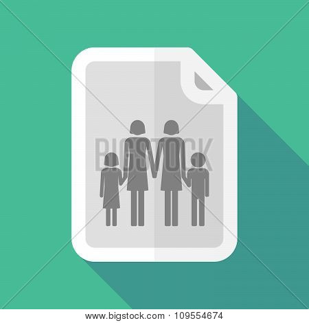 Long Shadow Document Vector Icon With A Lesbian Parents Family Pictogram