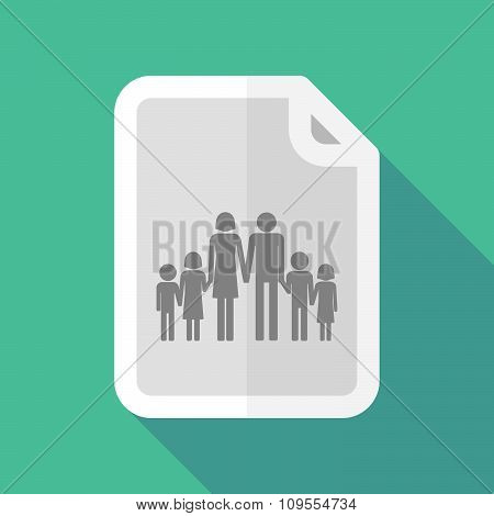 Long Shadow Document Vector Icon With A Large Family  Pictogram