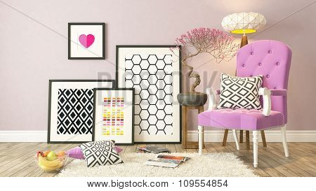Black Picture Frames Decor With Pink Bergere, Background, Template Design 3D Rendering