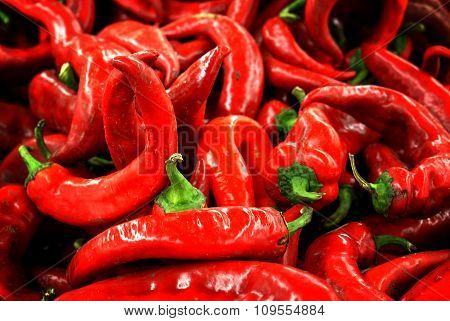 Red Chili Pepper Background High Contrasted With Vignetting Effect