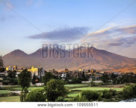 City Of Arequipa, Peru With Its Iconic Volcano Chachani In The Background