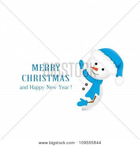 Snowman In Blue Hat And Christmas Greetings