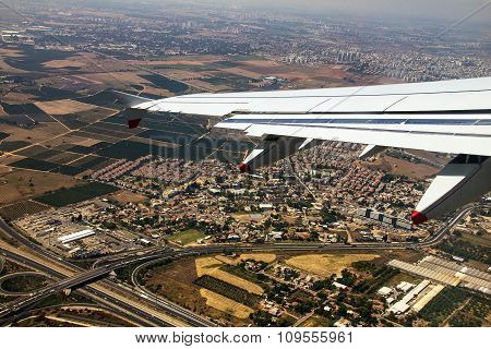 Big Passenger Jet Airplane Over Tel Aviv Environs