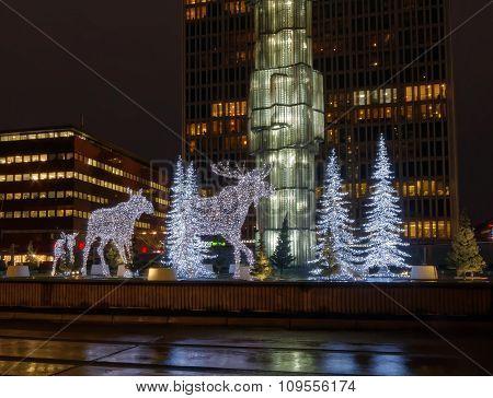 Christmas Moose Made Of Light