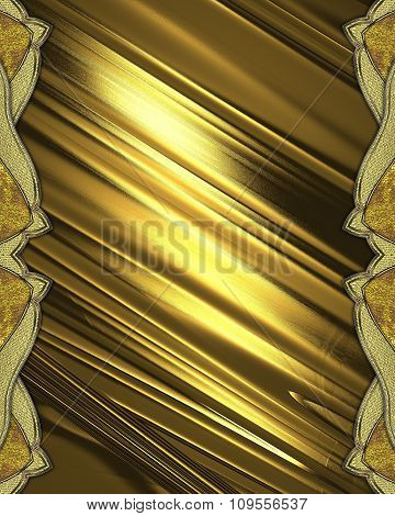 Golden Background With Gold Ornaments On The Edges. Element For Design. Template For Design.