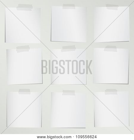 Set of various gray note papers on white background