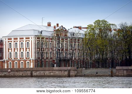 Russia. St. Petersburg. A building of the State University (building of Twelve boards) on Neva Emban
