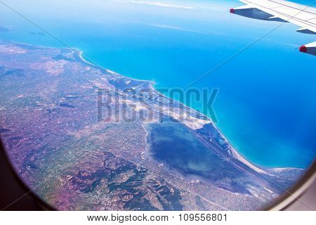 Flight Over Rhodes On Deep Blue Sky Background With Soft Focus