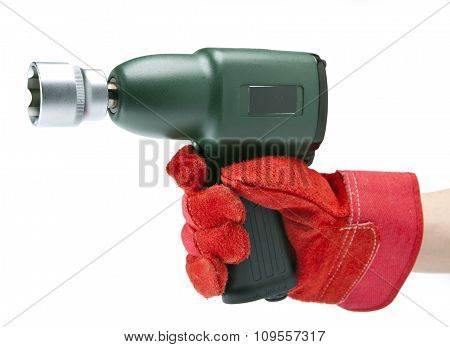the hand holds air impact wrench on a white background