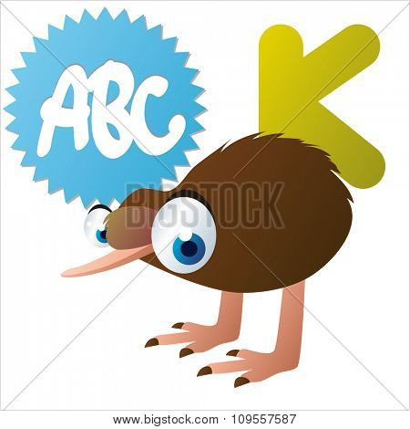 Australian funny cute animals cartoons alphabet: K is for Kiwi Bird