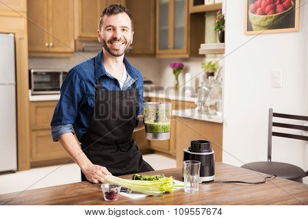 Young Man Making A Healthy Drink