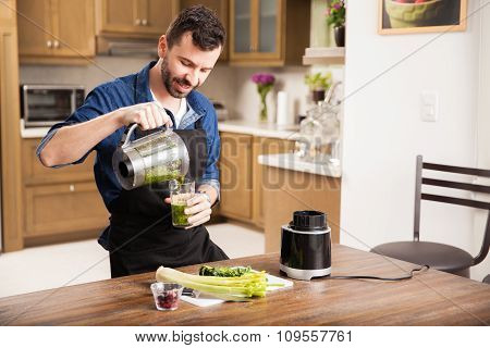 Guy Making A Healthy Smoothie