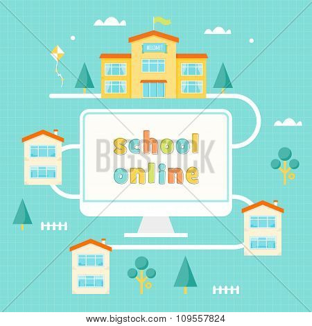 Computer, School Building and Houses. Online Learning Illustration