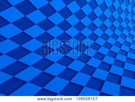 Abstract Wave Shape Blue Background. 3D Rendering
