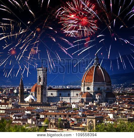 Festive firework over Cathedral Santa Maria del Fiore. Italy. Florence.