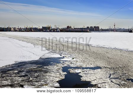 St. Petersburg. Seaport. Russia.View from the Gulf of Finland covered with ice