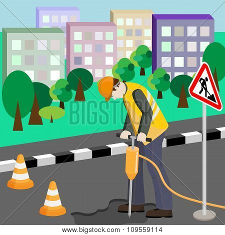 Repairing Of The Road. Repairman With Jackhammer