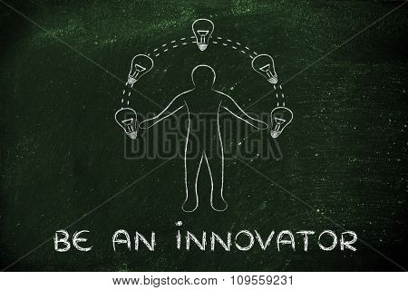 Man Juggling Ideas (lightbulbs Metaphor) With Text Be An Innovator