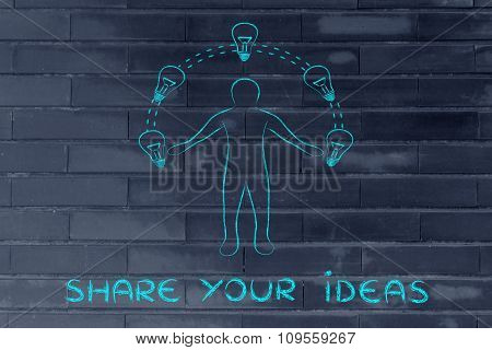 Man Juggling Ideas (lightbulbs Metaphor) With Text Share Your Ideas