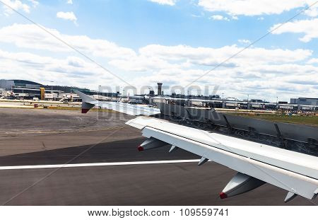 Aircraft  Landing In Heathrow Airport . London. Uk