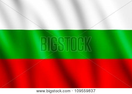 Bulgarian National Flag Waving In The Wind