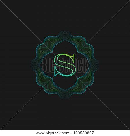 vector floral monogram. art-deco frame.