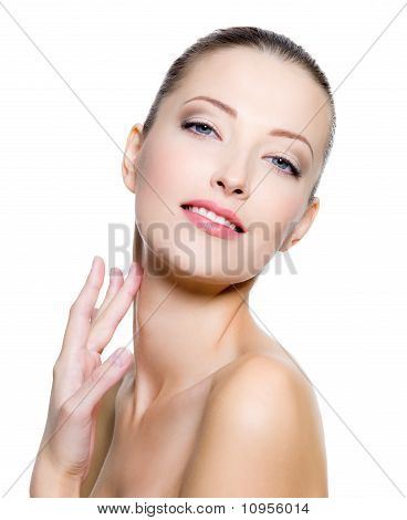 Beautiful Woman Pampering The Neck