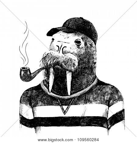 Hand drawn dressed up walrus in hipster style