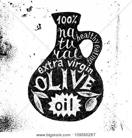 Hand drawn silhouette of olive oil bottle with text design