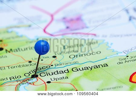 Ciudad Guayana pinned on a map of America