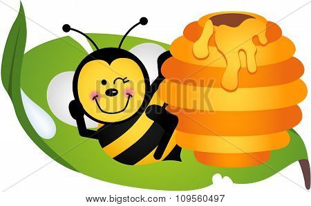 Happy bee sitting on leaf with hive