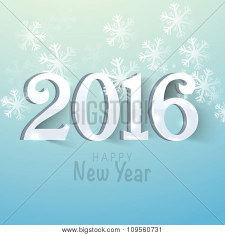 3D text 2016 on snowflakes decorated sky blue background for Happy New Year celebration.
